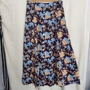 Vintage Light Blue/Navy A-line Midi Skirt
